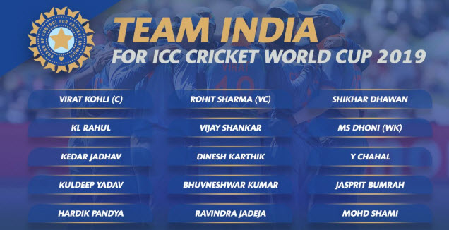 Announced: India's World Cup Squad